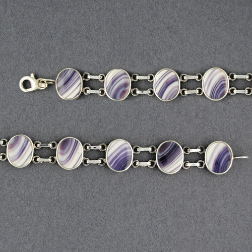 Wampum Oval Two Bar Link Bracelet