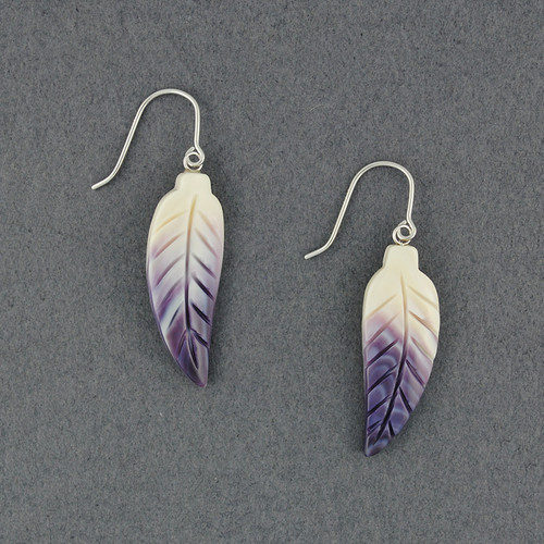 Wampum Curved Feather Earrings