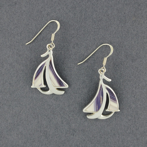 Wampum Sailboat Earring