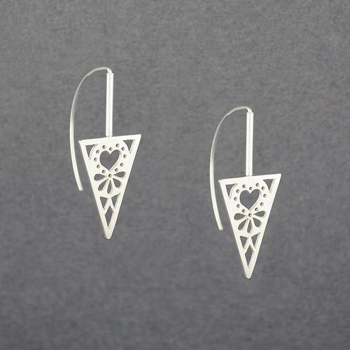 Triangle Heart Earrings