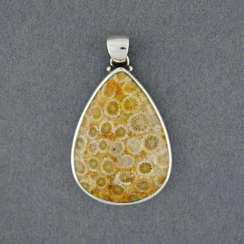 Sterling Silver Fossilized Coral Pendant