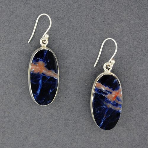 Sterling Silver Sodalite Oval Earrings