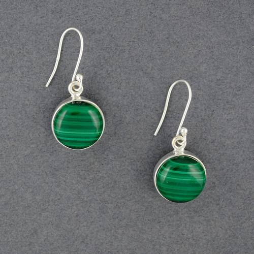 Sterling Silver Malachite Circle Earrings