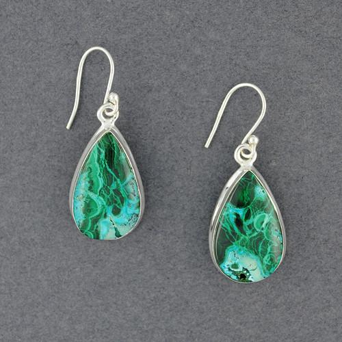 Sterling Silver Azurite/Malachite Teardrop Earrings