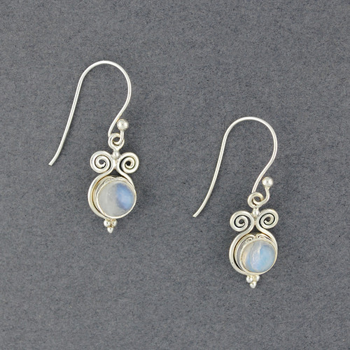 Sterling Silver Rainbow Moonstone Swirl Earrings