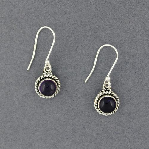 Sterling Silver Amethyst Rope Border Earrings