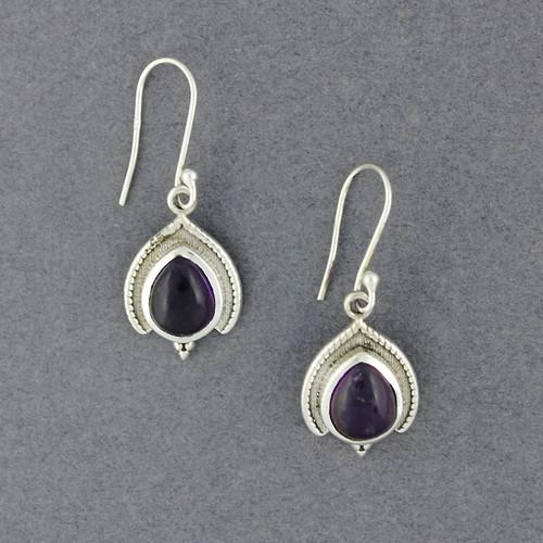 Sterling Silver Amethyst Ornate Teardrop Earrings