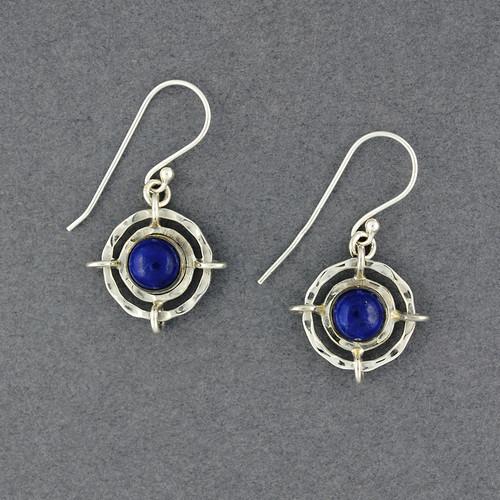 Sterling Silver Lapis in Circle Earrings