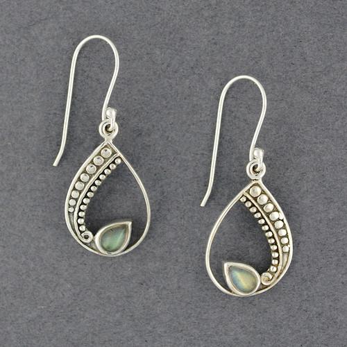 Sterling Silver Labradorite in Detailed Teardrop Earrings