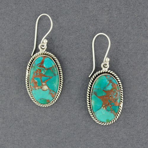 Sterling Silver Blue Copper Turquoise Oval Earrings
