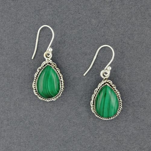 Sterling Silver Malachite Teardrop Earrings