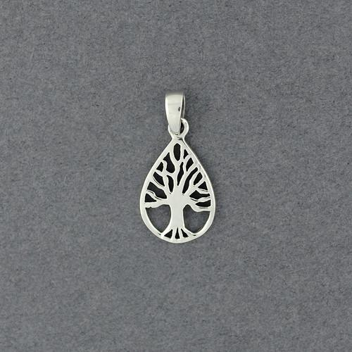 Sterling Silver Tree in Teardrop Pendant