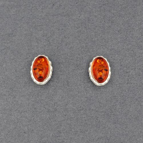 Amber Oval Post Earring