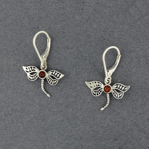 Amber Dragonfly Earrings