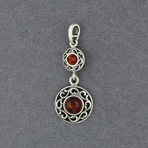 Amber Detailed Circles Pendant