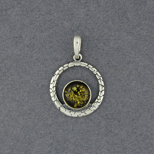 Green Amber in Detailed Circle Pendant