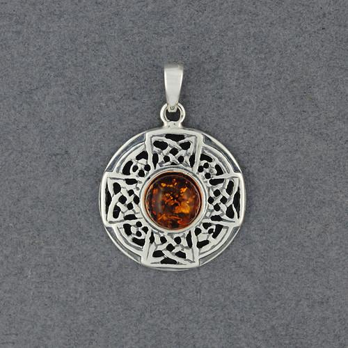 Amber Celtic Circle Pendant