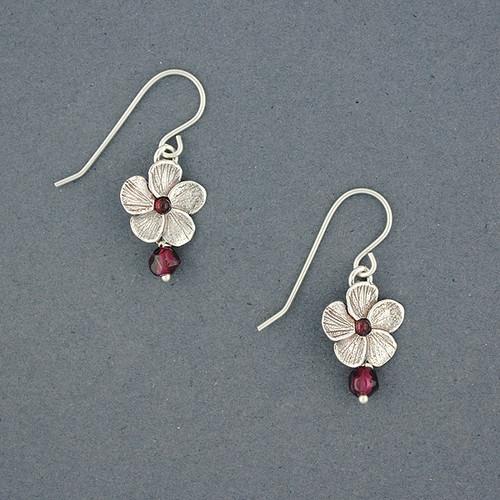 Garnet Flower Earrings