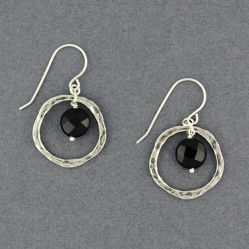 Onyx in Hammered Circle Earrings