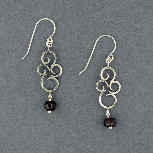 Faceted Garnet Swirl Earrings