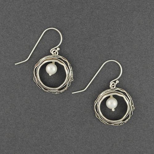 Pearl in Layered Circle Earrings