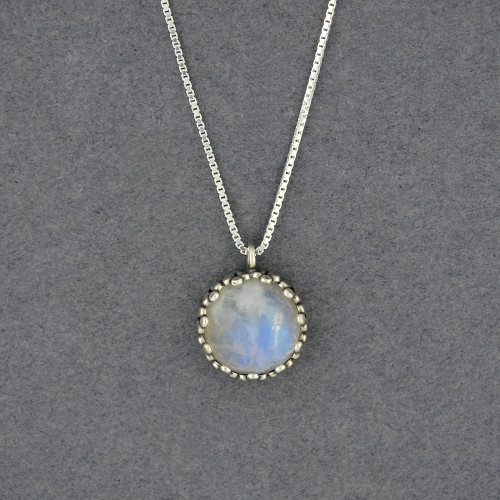Moonstone in Dotted Frame Necklace