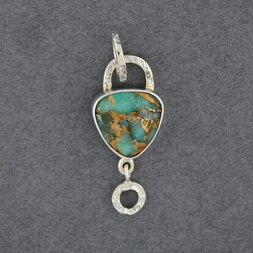 Flashes Amazonite and Bronze Pendant