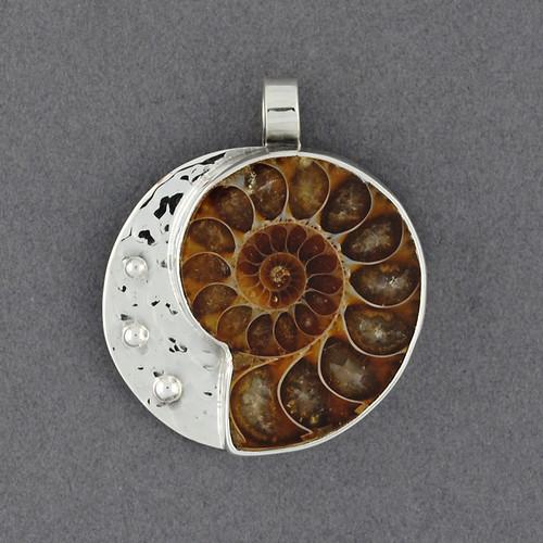 Hammered Ammonite Pendant