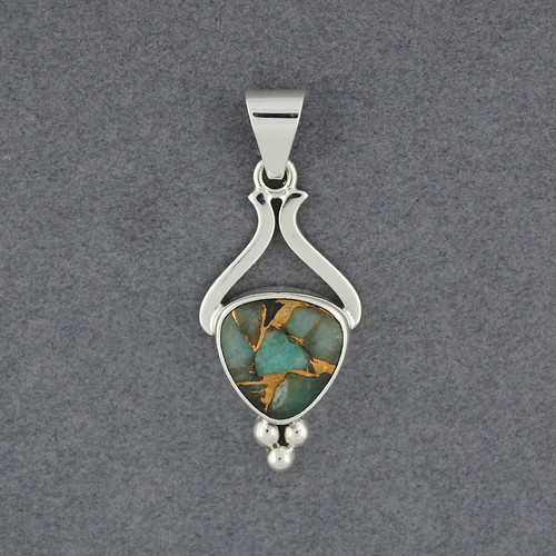 Granulated Amazonite and Bronze Pendant