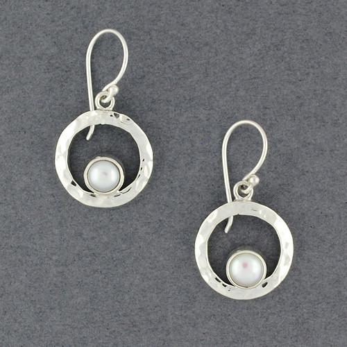 Round Frame Pearl Earrings