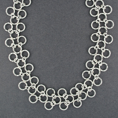 Sterling Silver Hammered Linked Circles Necklace