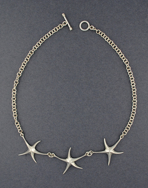 Sterling Silver 3 Starfish Necklace
