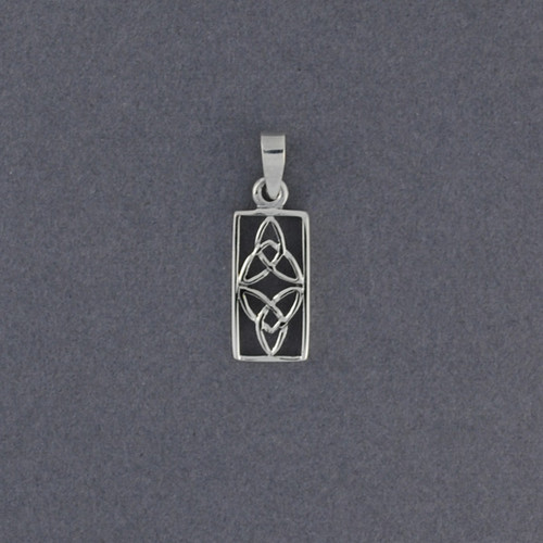 Sterling Silver Rectangle Double Trinity Knot Pendant