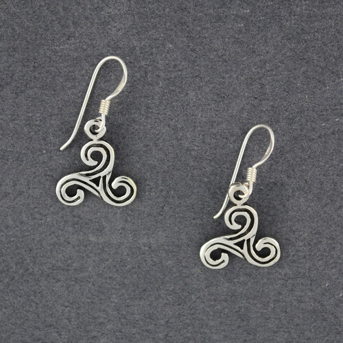 Sterling Silver Antiqued Triskele Earrings