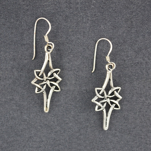 Sterling Silver Pointed Star Celtic Knot Earrings
