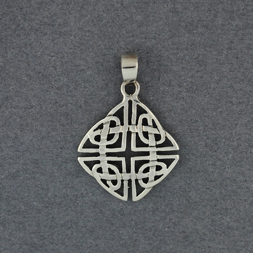 Sterling Silver Ornate Diamond Celtic Knot Pendant