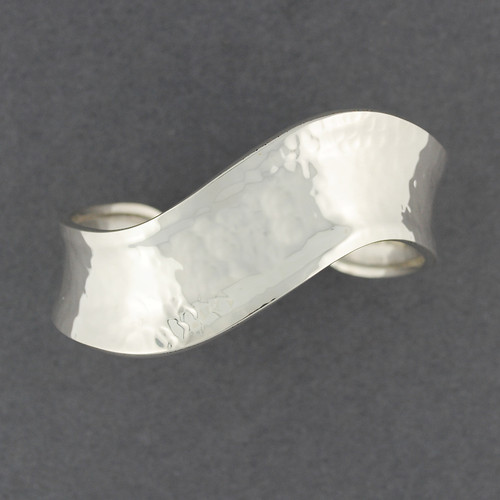 Sterling Silver Hammered Wave Cuff