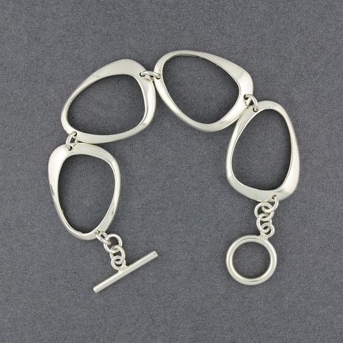 Sterling Silver Abstract Shape Link Bracelet
