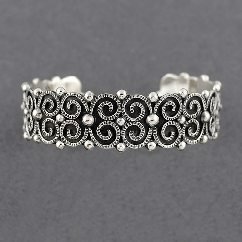 Sterling Silver Scrolls and Dots Cuff