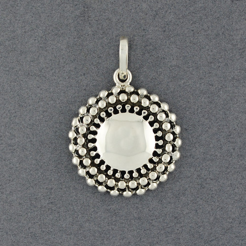 Sterling Silver Antiqued Button Pendant