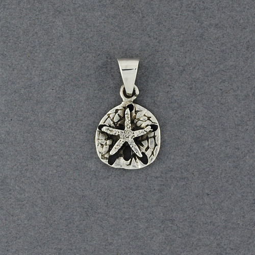 Sterling Silver Small Antiqued Sanddollar Pendant