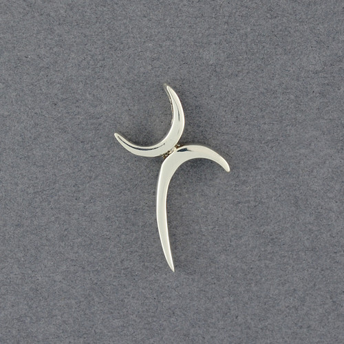 Sterling Silver Curved Stylized Cross Pendant