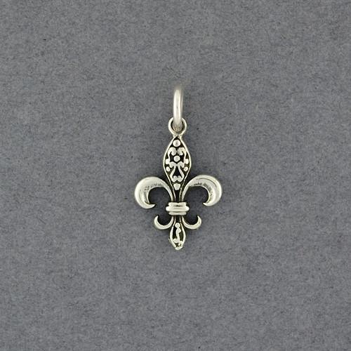 Sterling Silver Small Antiqued Fleur-de-lis Pendant