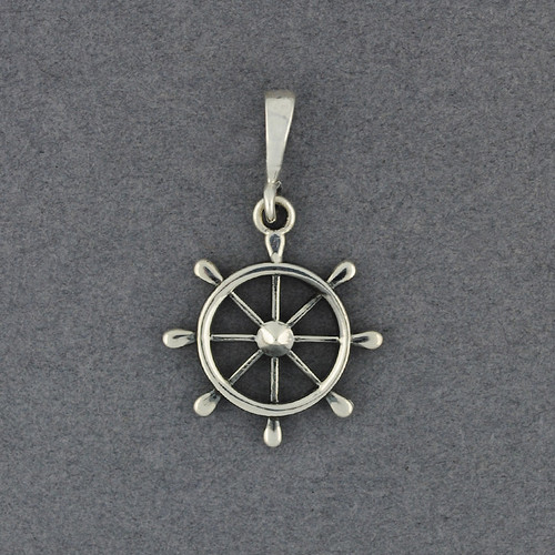 Sterling Silver Ship Wheel Pendant