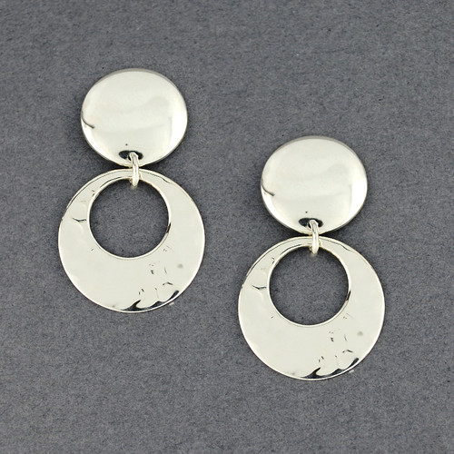 Sterling Silver Large Post Hammered Circle Earrings