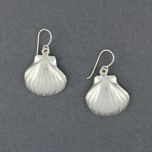 Sterling Silver Large Scallop Shell Earrings