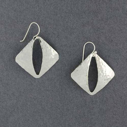 Sterling Silver Hammered Cutout Diamond Earrings