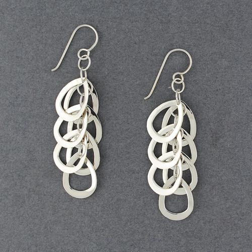 Sterling Silver Cascading Open Teardrops Earring