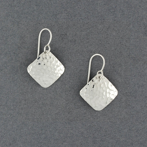 Sterling Silver Small Hammered Diamond Earrings