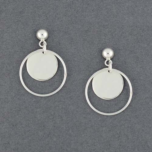Sterling Silver Circle in Circle Post Earrings